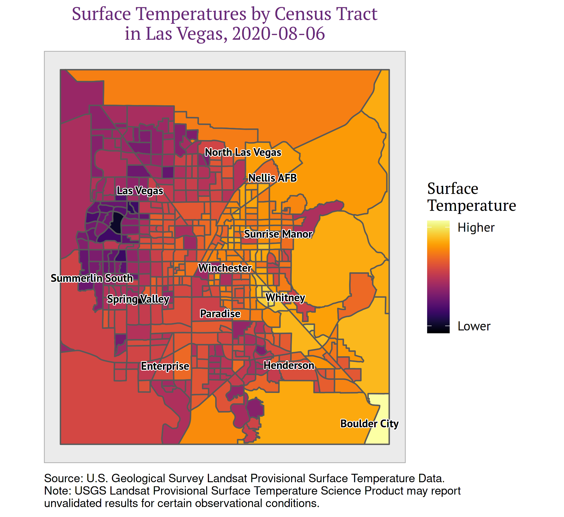 Figure 4: Visualizing Urban Heat by Census Tract in Las Vegas, Nevada
